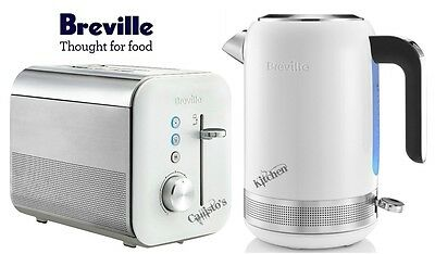 Breville High Gloss Kettle and Toaster Set White Kettle & 2-Slice Toaster New