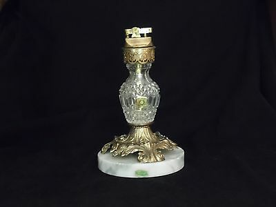 VINTAGE CRYSTAL AND BRASS CIGARETTE LIGHTER TABLE LIGHTER Made Italy
