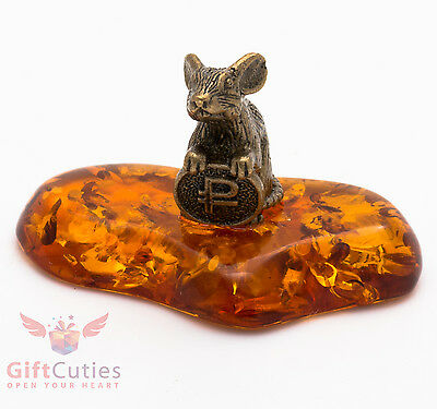 Russian Solid Brass Amber Figurine of Mouse Mice with coin money magnet IronWork