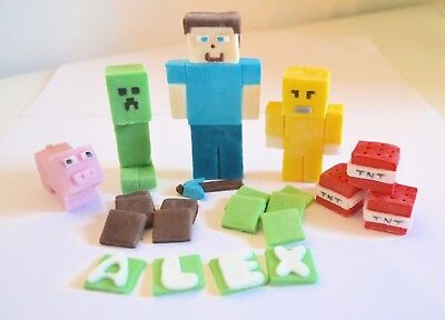 Minecraft Cake Toppers Edible Birthday Decoration Personalised Name Icing