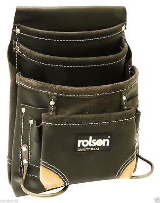 Rolson Oil Tan Leather Single Pouch 10 Pocket Tool Belt Hammer Holder Nail Screw