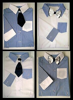 Baby Boy White Blue Smart Bodyshirt Formal Bodysuit shirt Bow Tie Outfit 0-24m