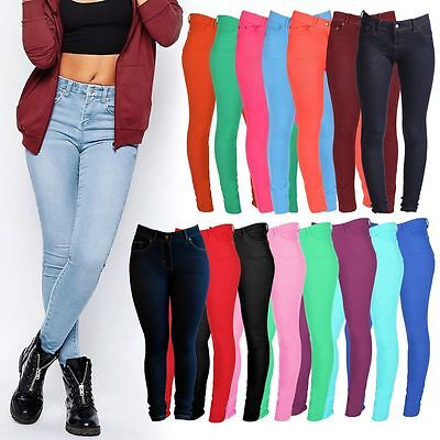 Womens Ladies NEW Skinny Stretch Jeggings Pents Girls Jeans Pockets Size 8-14