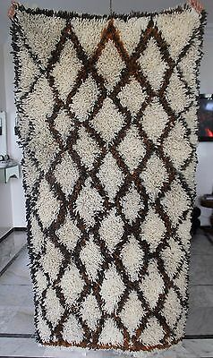 Vintage Authentic Beni Ourain rug 100% WOOL Handmade Carpet in Morocco 8'9 x 3'3