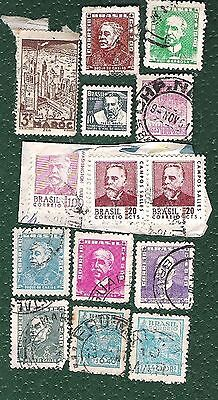 Postage Stamps-Brazil 13 very old -  some duplicates