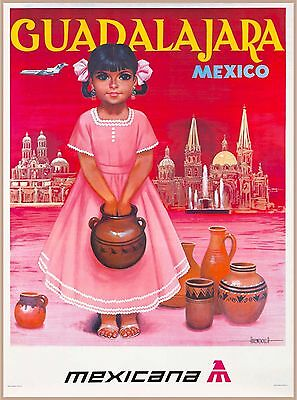 Guadalajara Mexico Little Girl Mexicana Mexican Travel Advertisement Art Poster