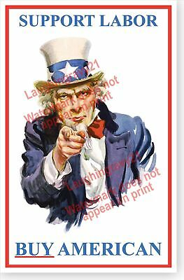 Political Uncle Sam Support Labor Patriotic Workers Union Poster