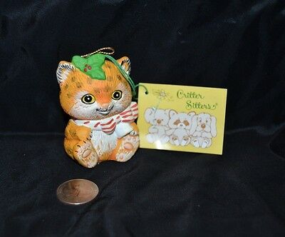Vintage 1980's CRITTER SITTERS Holiday Hanging Ornament TIGER Enesco Ceramic NWT