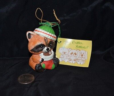Vtg 1980's CRITTER SITTERS Holiday Hanging Ornament RACCOON Enesco Ceramic NWT