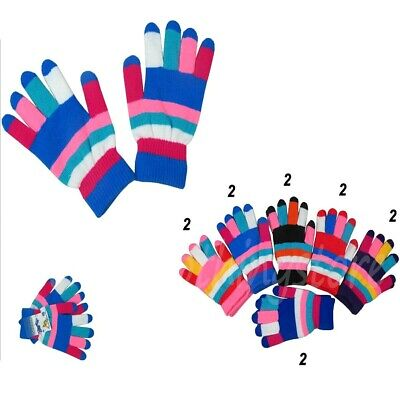 12 Pairs Women Girls Magic Stripe Multi-Colors Winter Warm Knitted Gloves Lot