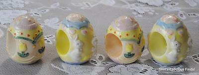 SET of 4 Colorful EASTER EGG Shaped NAPKIN RINGS Tulips BUNNY Rabbits Pastels