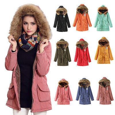 Womens Warm Long Coat Fur Collar Hooded Quilted Jacket Winter Parka Outwear Cosy