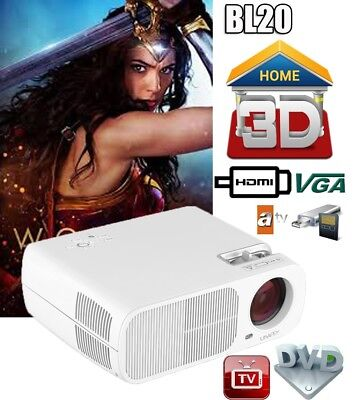 5000 lm PROYECTOR 2000:1 3D LED Projector Multimedia Home Cinema HDMI USB Blanco