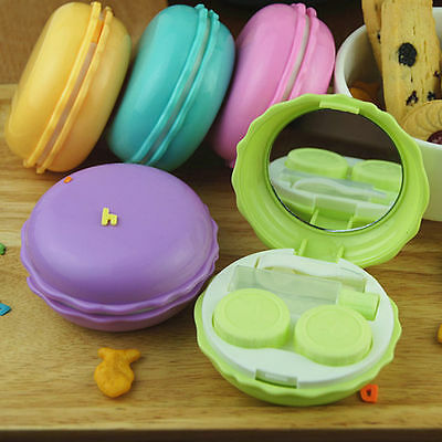 Colorful Macarons Eye Contacts Lens Case Box Mirror Container Holder Travel Kit