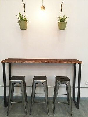 Breakfast Bar Table Bistro Coffee Reclaimed Wood Uk Made