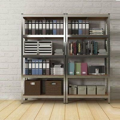 Industrial Metal Rack Tower Unit Sturdy Open Shelves Bookcase Home Office Garage