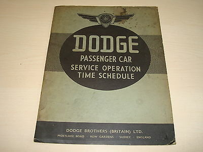 Dodge D2, D2X, D5, D9X, D8, D8O Oe Passenger Car Service Operation Time Schedue