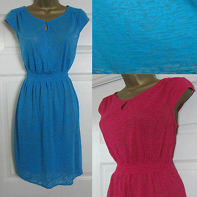 b392391f4e NEW Mantaray Beach Holiday Summer Dress Stretch Jersey Burnout Pink Blue  8-20
