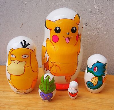 "Russian Nesting Dolls. ""Pokemon"" Hand-painted in Russia."