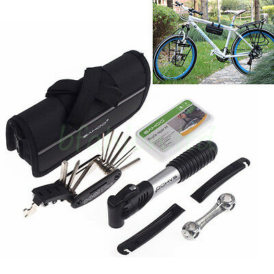 SAHOO Bike Cycle Bicycle Multi Tool Kit Carry Case Pump Tyre Puncture Repair Set