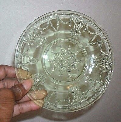 (8) Green Depression Ballerina Bread And Butter Plates