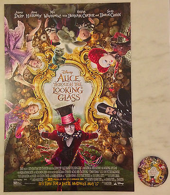 ALICE THROUGH THE LOOKING GLASS (2016) Mirror Button & Thick Poster 2-for-1 Sale