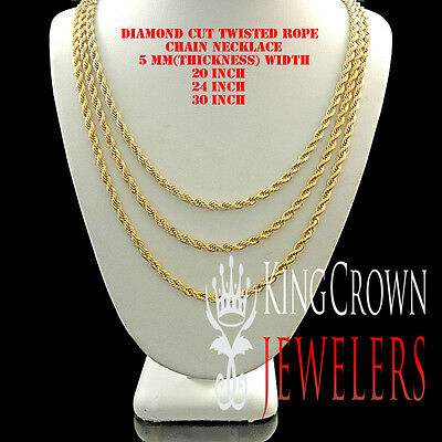 Mens Ladies 14K Yellow Gold Finish 5 Mm Diamond Cut Twisted Rope Chain Necklace