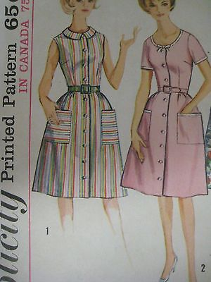 Vtg 60's Simplicity 5445 SCOOP or COLLARED DRESS Sewing Pattern Women UNCUT Sz20