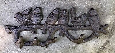 Birds-on-a-Branch Cast Iron Coat or Towel Wall Hook Rack