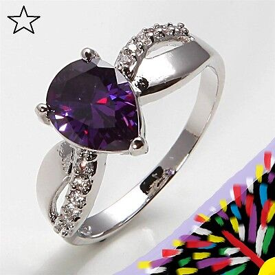 NEW SIZE 7.5 RING + FREE GIFT BOX! 7 1/2 Amethyst Quartz Crystal Gold Filled