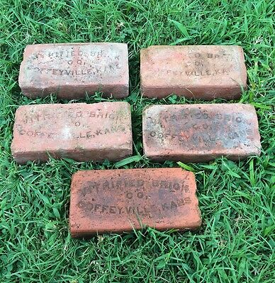 5 Identical Rare antique street paver bricks Coffeyville Ks Kansas Montgomery Co
