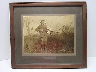 """Antique Hunter with a rifle 15""""x13"""" Framed Photo"""