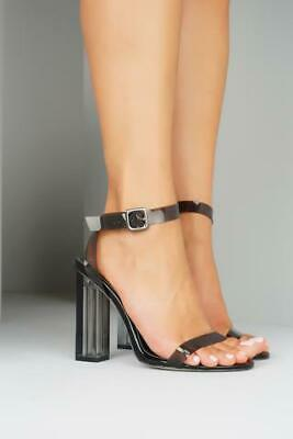 2af8949e4bd6 Cape Robbin Maria-2 BLACK Two Peice Lucite Clear Strappy High heel Open  Sandals