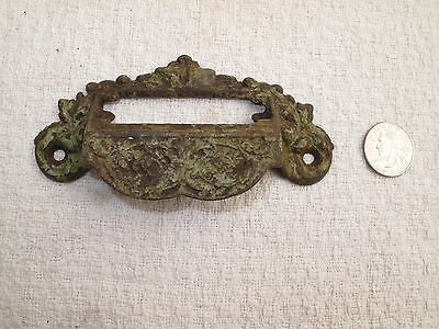 "Antique Victorian Ornate Cast Iron Drawer Pull Handle 5"" A3 File Tag Green Paint"