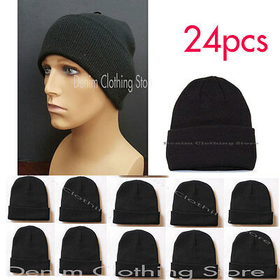24pcs Men Women Solid Plain Black Beanie Cap Slouchy Hat Knit Winter Wholesale