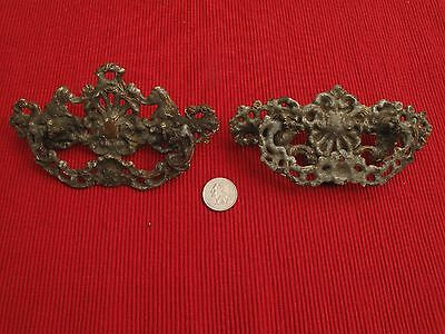 "Pair Antique Brass Drawer Pulls Handles 6""  Victorian 1800's Grey Silver Grungy"