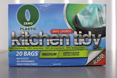 Zero-Plastic™ 100% Biodegradable Kitchen Tidy Bags (20-100med or 16-80lrg bags)