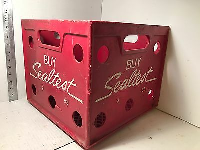 Sealtest Dairy Milk Crate Heavy Duty Red Plastic Storage Vintage Rare
