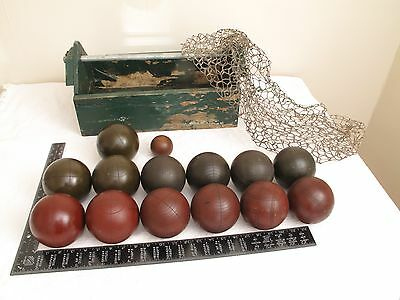 13 Vtg Antique ? Wood Lawn Bowling Bocce Balls Ball Set Red Green Black