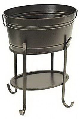 Party Drinks Tub With Stand, Black Finish Steel Frame Ice Beverage Serving Tools