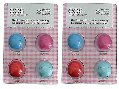 8 x EOS LIP BALM SMOOTH SPHERE ORGANIC MINT FRUIT STRAWBERRY BLUEBERRY