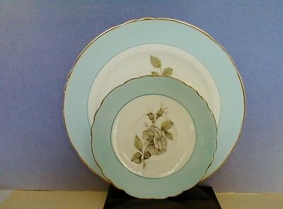 Crown Staffordshire England - Gray Blossoms - Saucer & Salad Plate - Rose Flower