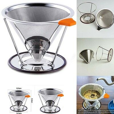 UK Good Pour Over Cone Dripper Reusable Coffee Filter Stainless with Cup Stand