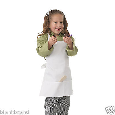 Kids Plain White Apron | Children Full Bib | Chef Art Craft Paint Garden Kitchen