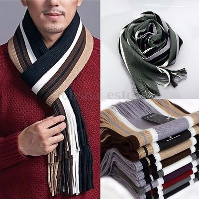 Mens Classic Cashmere Shawl Winter Warm Long Fringe Striped Tassel Scarf USA