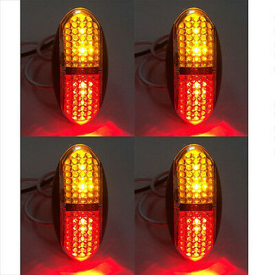 4pcs Amber 4 LED Side Marker Rear Indicators Lights Truck Trailer Lamp 12V