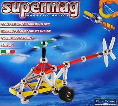 Supermag Magnetic Hubschrauber Helikopter Konstruktion Building Set Plastwood 01