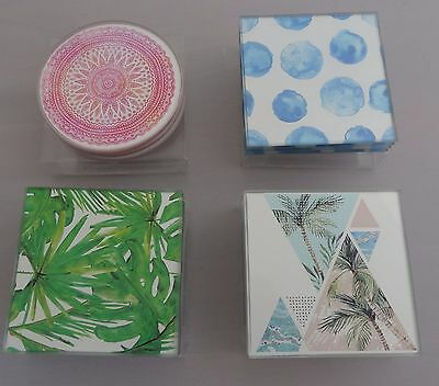 Coasters Set Of 4 Glass Coasters  Choose From 4 Fabulous Tropical/beachy Designs