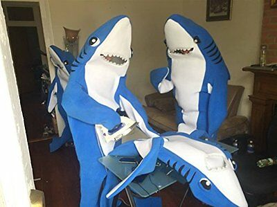 Animal Shark Mascot Costume Fancy Dress Party Cosplay outfit bodysuit Adult Suit