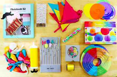 Complete Party Decorations Pack 100+ Items Rainbow Coloured Celebration Kit